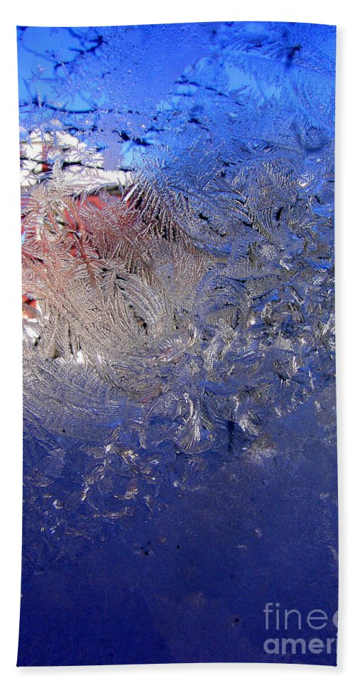 Ice Beach Towel featuring the photograph A Wintry Icy Window by Mike Nellums