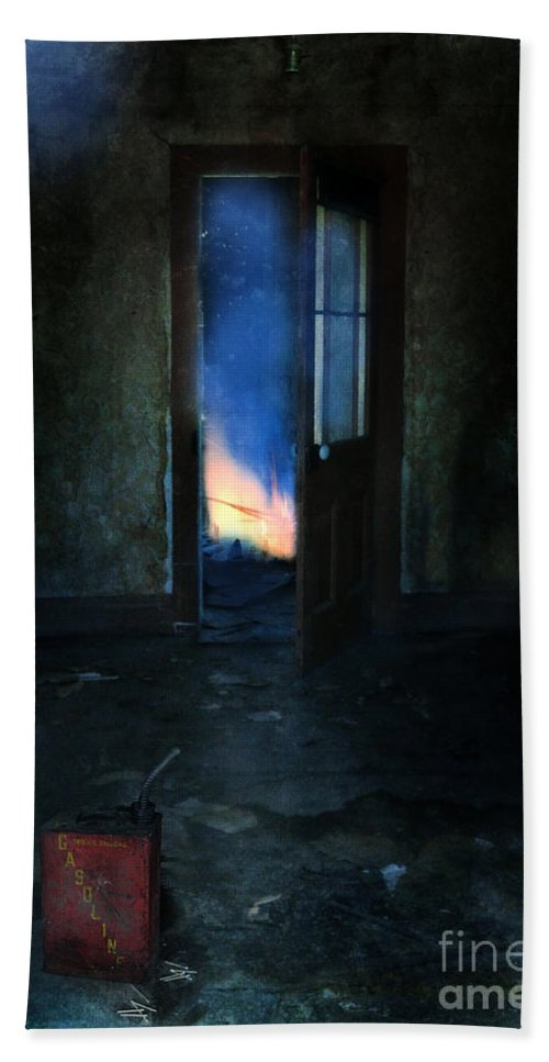 Fire Beach Towel featuring the photograph Abandoned House On Fire by Jill Battaglia
