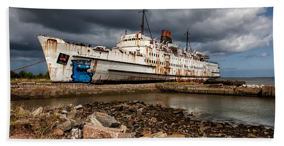 Abandoned Ship Beach Sheet For Sale By Adrian Evans
