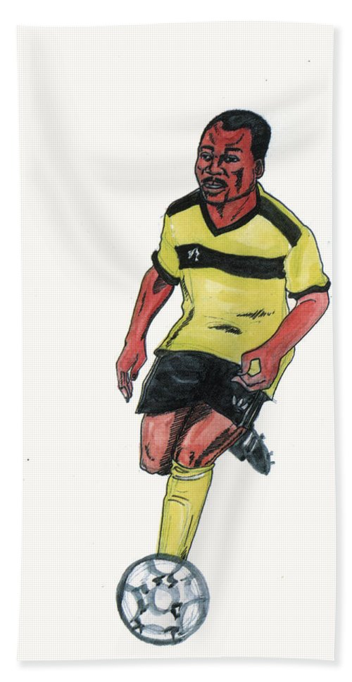 Portraits Beach Towel featuring the painting Abedi Pele by Emmanuel Baliyanga