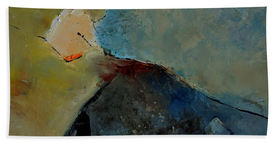 Abstract Beach Towel featuring the painting Abstract 170006 by Pol Ledent