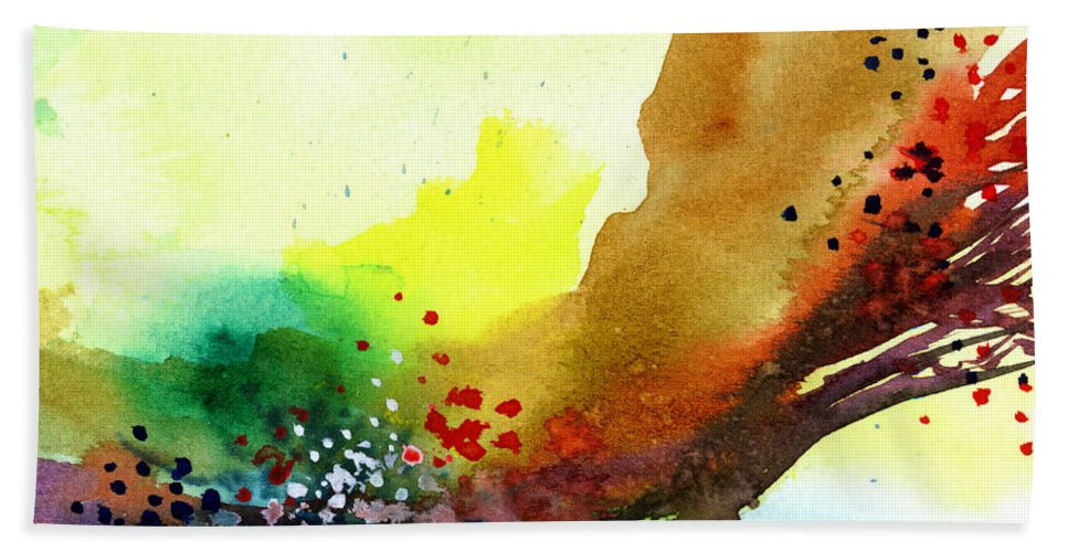 Red Beach Towel featuring the painting Abstract 5 by Anil Nene