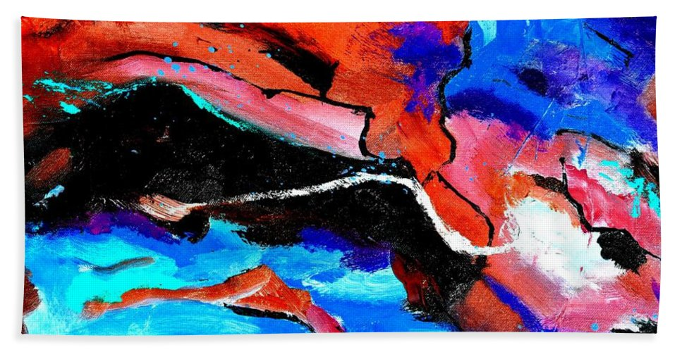 Abstract Beach Towel featuring the painting Abstract 69212022 by Pol Ledent
