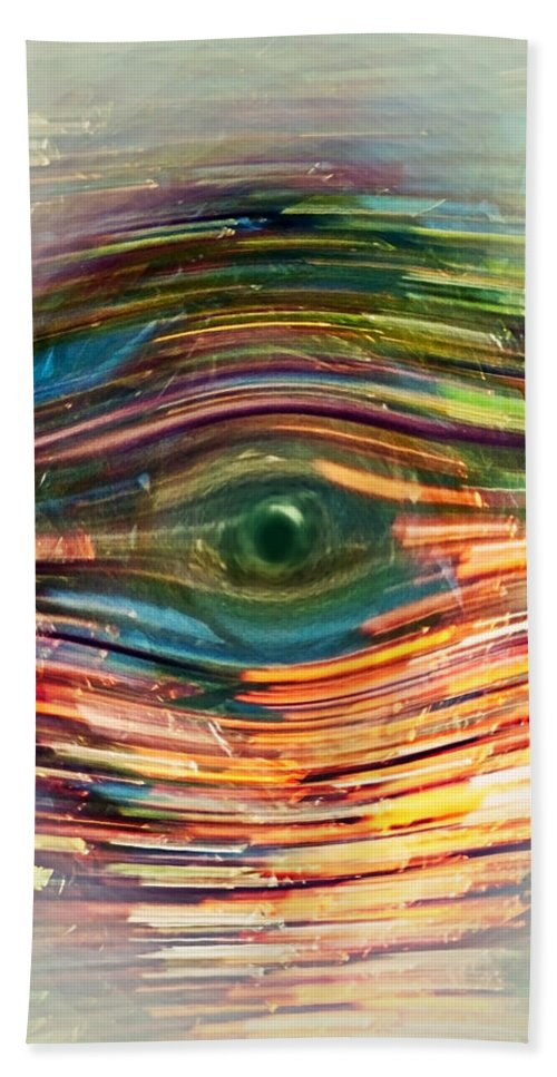 Abstract Beach Towel featuring the digital art Abstract Eye by Susan Leggett