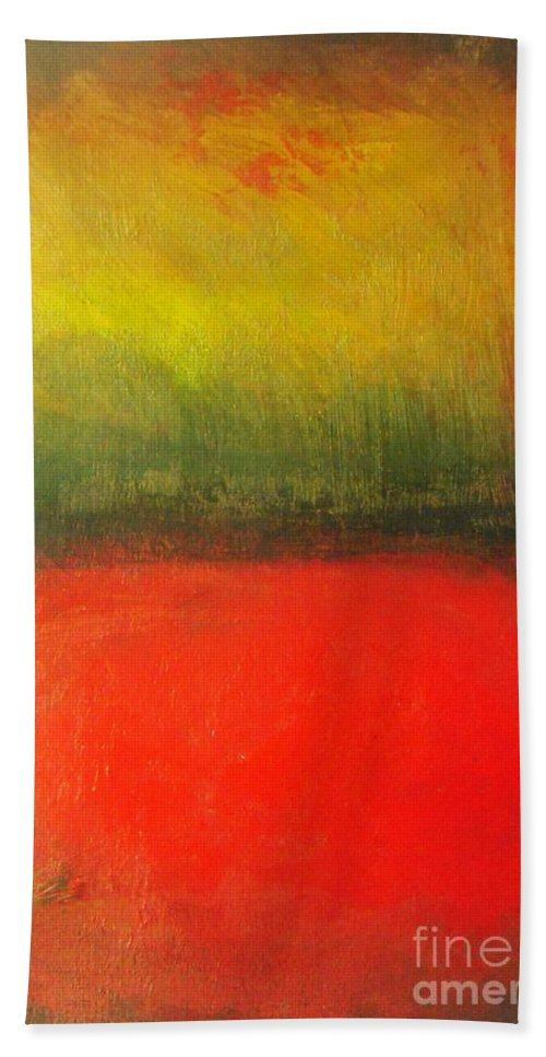 Poppy Beach Towel featuring the painting Poppy Field At Sunset by Vesna Antic