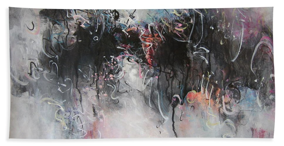Abstract Painting Seascape Beach Towel featuring the painting Abstract Seascape00100 by Seon-Jeong Kim