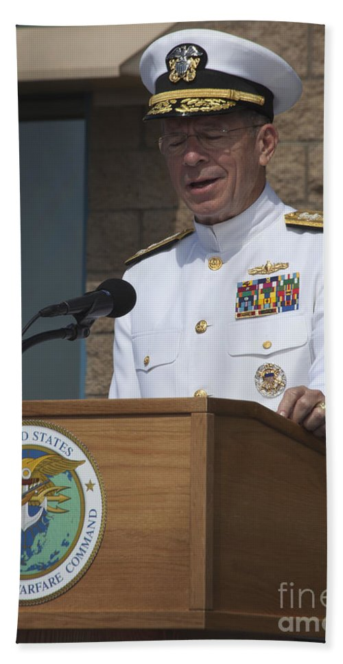 Military Beach Towel featuring the photograph Admiral Mike Mullen Speaks by Michael Wood