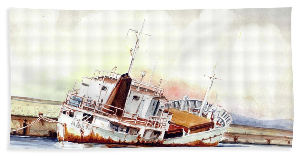 Wreck Beach Towel featuring the painting Aetos by Giovanni Marco Sassu