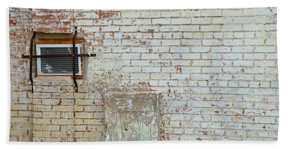 Brick Wall Beach Towel featuring the photograph Aged Brick Wall With Character by Nikki Marie Smith