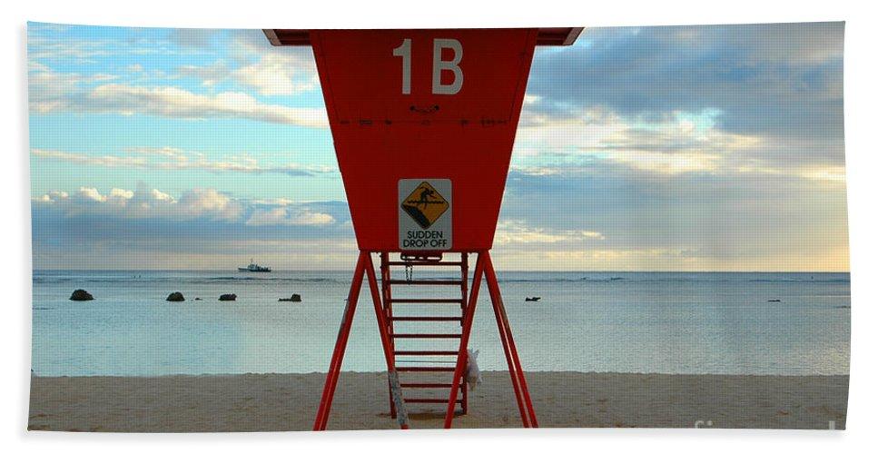 Hawaii Beach Towel featuring the photograph Ala Moana Lifeguard Station by Mark Gilman