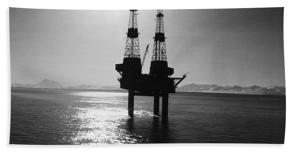 1960s Beach Towel featuring the photograph Alaska: Oil Rig, 1960s by Granger