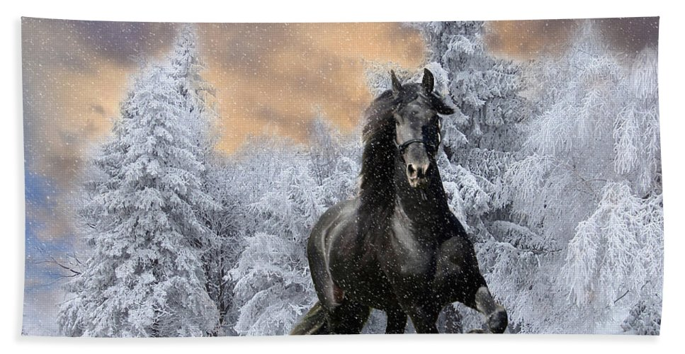 Horse Beach Towel featuring the digital art Allegro Coming Home by Tom Schmidt