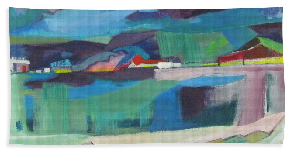 Sky And Rocks And Water Beach Towel featuring the painting Almost Abstract Painting by Betty Pieper
