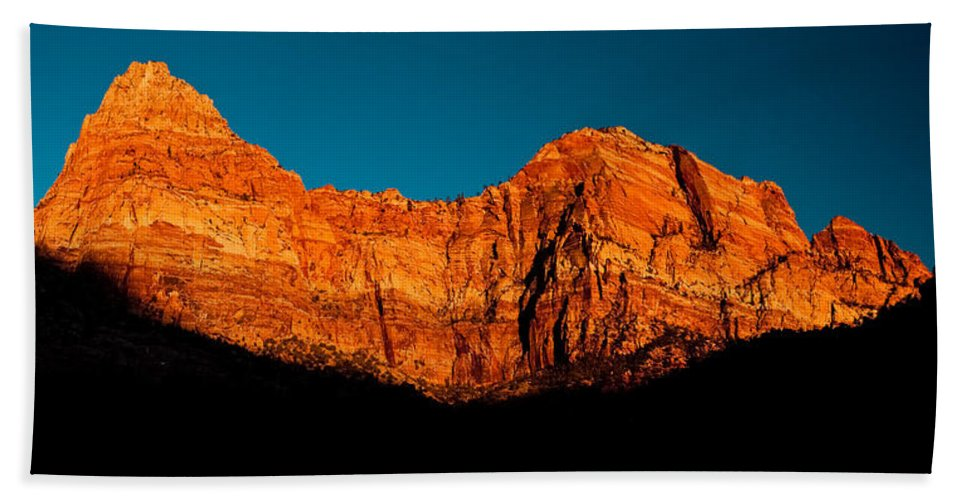 Zion Canyon Beach Towel featuring the photograph Alpenglow In Zion Canyon by Greg Nyquist