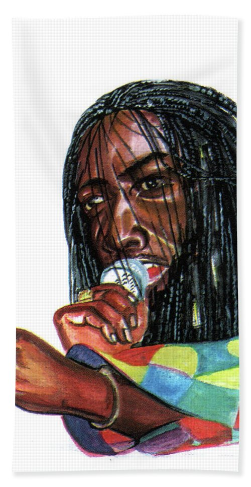 Music Beach Towel featuring the painting Alpha Blondy by Emmanuel Baliyanga