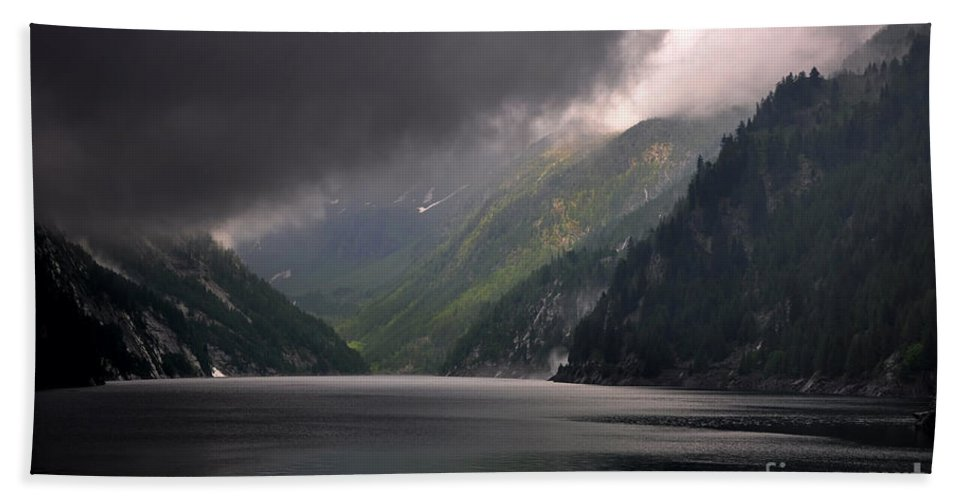 Lake Beach Towel featuring the photograph Alpine Lake With Sunlight by Mats Silvan
