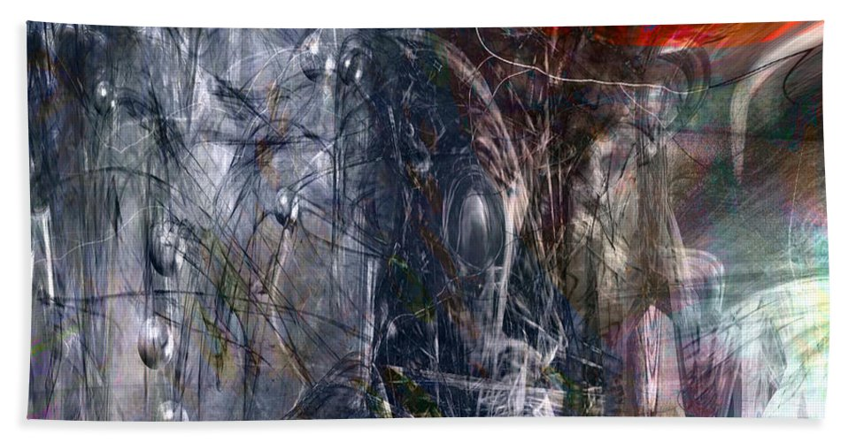 Abstract Beach Towel featuring the digital art Altered Second Movements by Linda Sannuti
