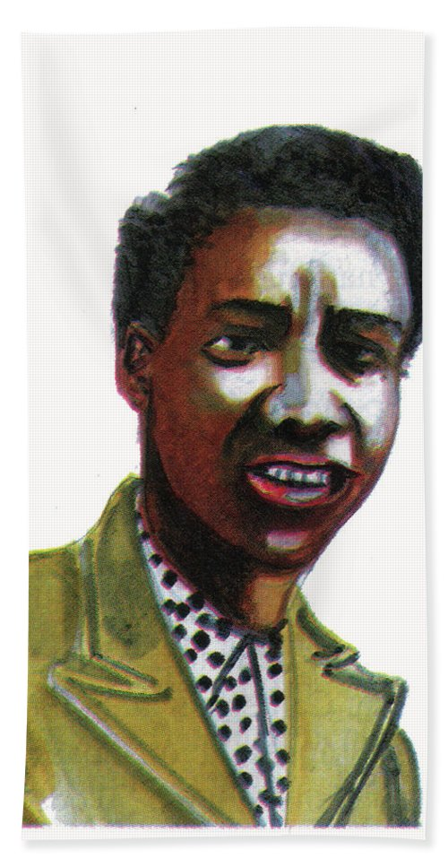 Portraits Beach Towel featuring the painting Althea Gibson by Emmanuel Baliyanga