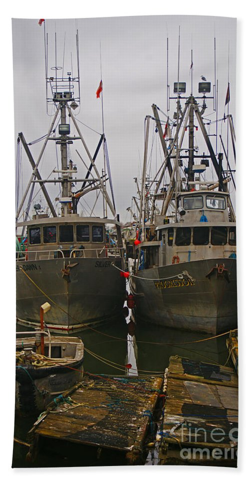 Fishing Boats Beach Towel featuring the photograph Aluminum Fishing Boats by Randy Harris