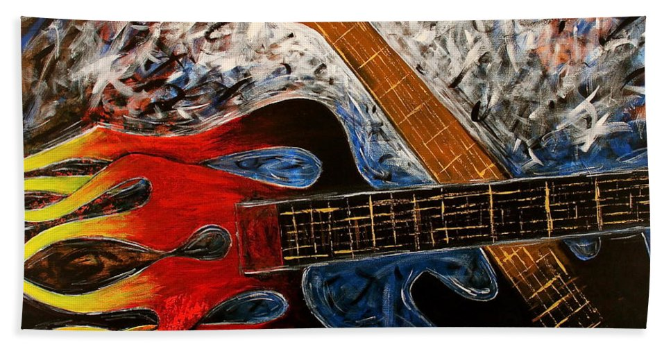 Always About Music Beach Towel featuring the painting Always About Music by Kume Bryant