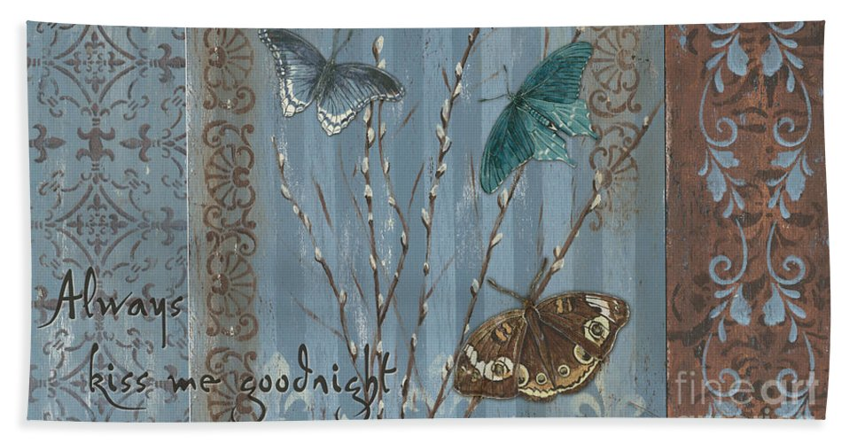 Butterfly Beach Towel featuring the painting Always Kiss Me Goodnight by Debbie DeWitt