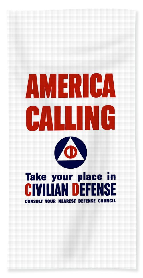 Civil Defense Beach Towel featuring the painting America Calling -- Civilian Defense by War Is Hell Store