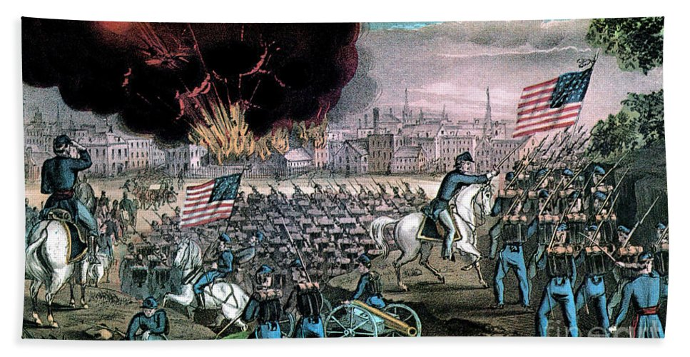 History Beach Towel featuring the photograph American Civil War, Capture Of Atlanta by Photo Researchers