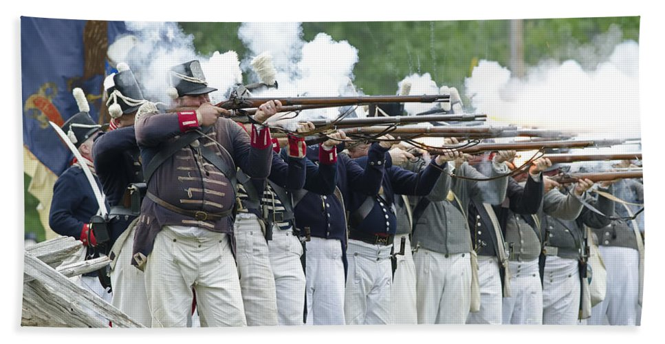War Of 1812 Beach Towel featuring the photograph American Firing Line by JT Lewis