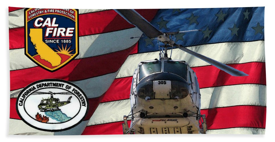 Firefighting Beach Towel featuring the digital art American Hero 1 by Tommy Anderson