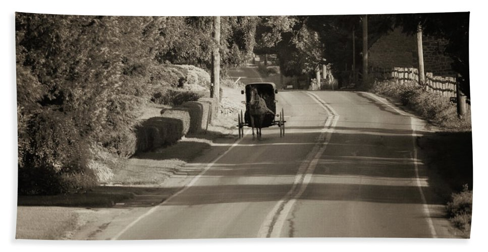 Amish Buggy - Lancaster County Pa Beach Towel featuring the photograph Amish Buggy - Lancaster County Pa by Bill Cannon