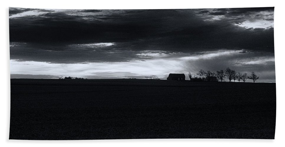 Amish Beach Towel featuring the photograph Amish Sunrise Black And White by Joshua House