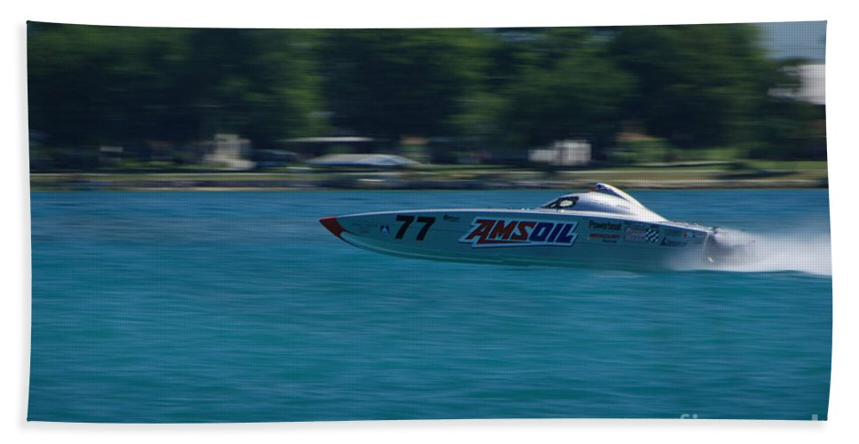 Amsoil Beach Towel featuring the photograph Amsoil Offshore Racer by Grace Grogan