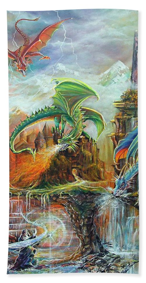 Fantasy Beach Towel featuring the painting An Al Nathrach by Penny Golledge