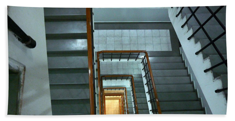 Staircase Beach Towel featuring the photograph An Endless Race To The Bottom by Ashish Agarwal