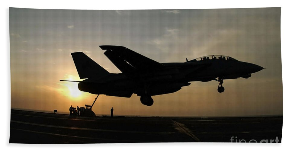 Color Image Beach Towel featuring the photograph An F-14d Tomcat Makes An Arrested by Stocktrek Images