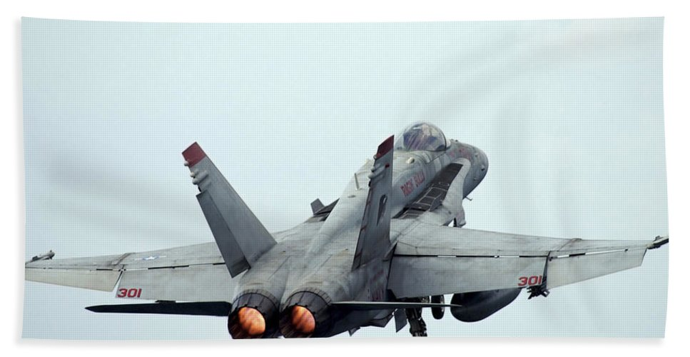 Horizontal Beach Towel featuring the photograph An Fa-18c Hornet Taking Off by Stocktrek Images