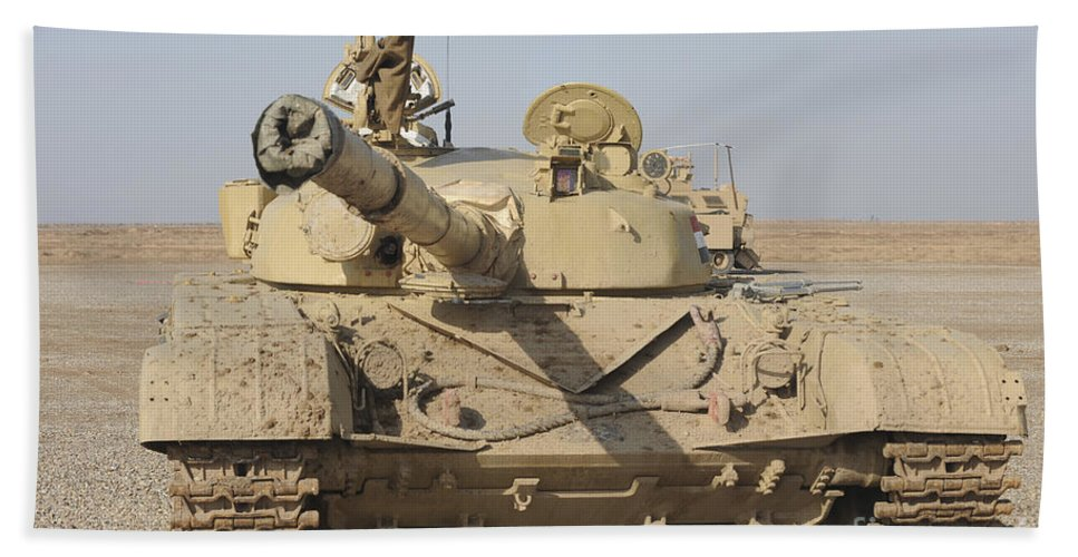 Iraqi Army Beach Towel featuring the photograph An Iraqi T-72 Tank At The Besmaya by Stocktrek Images