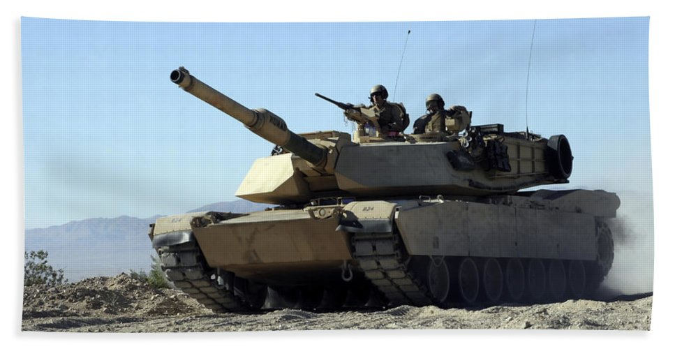 Adults Only Beach Towel featuring the photograph An M1a1 Main Battle Tank by Stocktrek Images