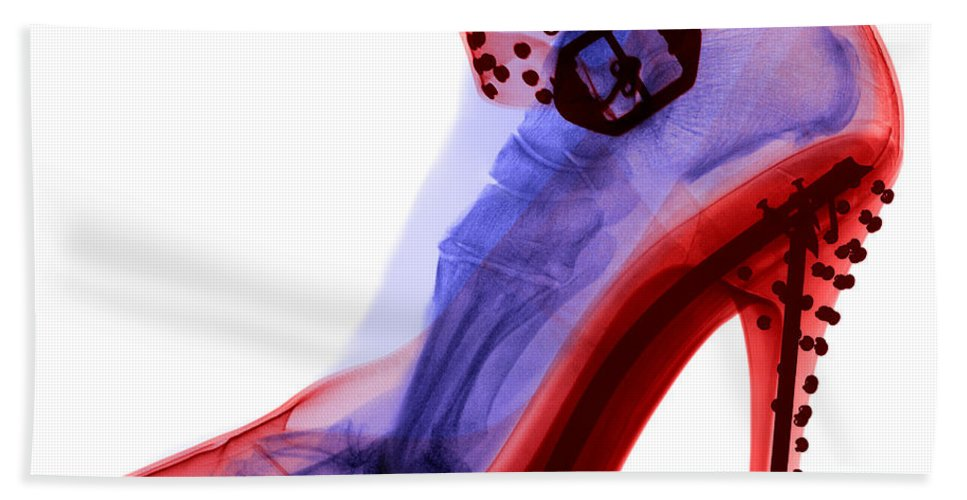 Shoe Beach Towel featuring the photograph An X-ray Of A Foot In A High Heel Shoe by Ted Kinsman