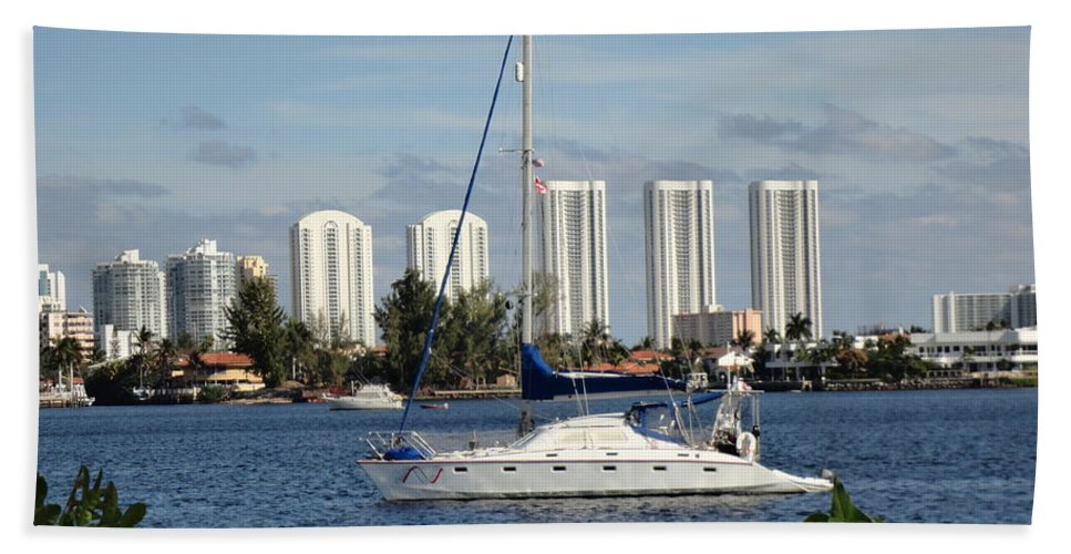 Sailboat Beach Towel featuring the photograph Anchored On Maule Lake by Maria Bonnier-Perez