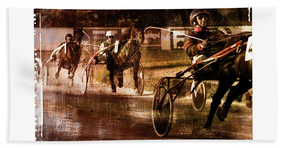 Horse Beach Towel featuring the photograph and the winner is - A vintage processed Menorca trotting race by Pedro Cardona Llambias