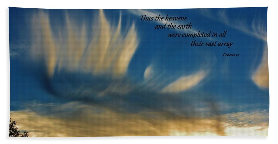 Scripture Beach Towel featuring the photograph Angel Clouds by Tara Ellis