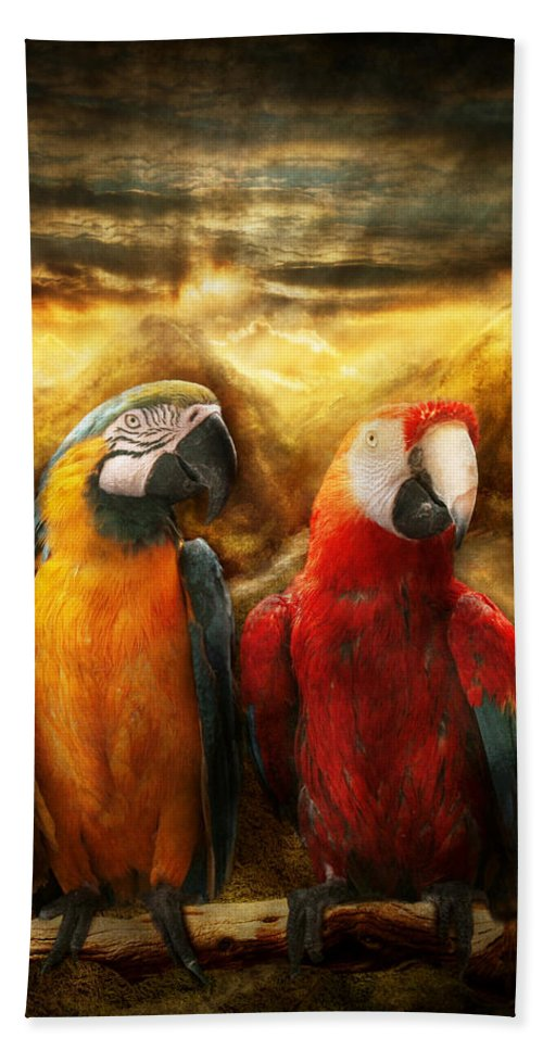 Parrot Beach Towel featuring the photograph Animal - Parrot - Parrot-dise by Mike Savad