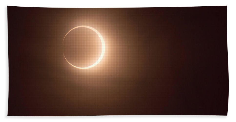 Annular Beach Towel featuring the photograph Annular Eclipse Past Peak by Mick Anderson