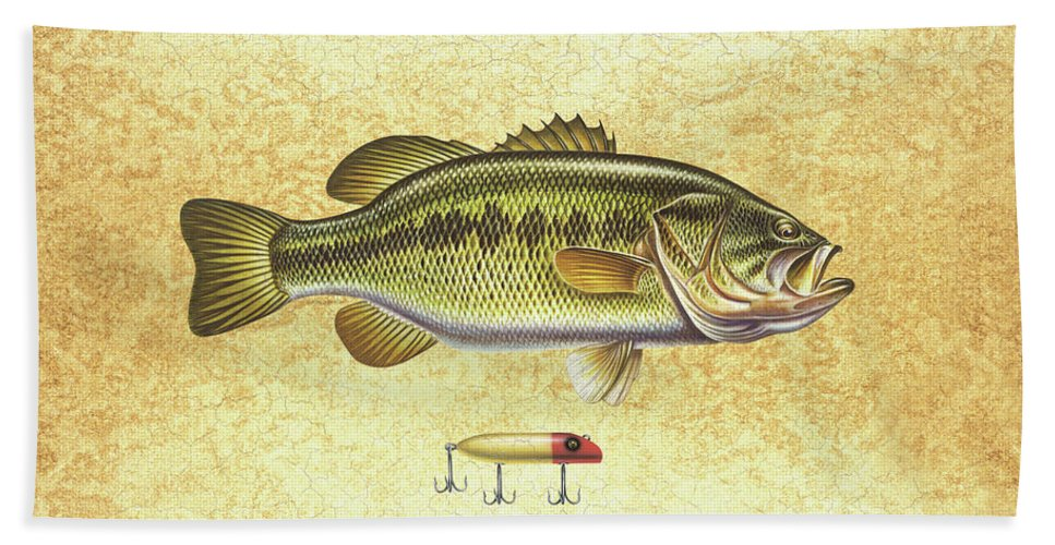 Bass Beach Towel featuring the painting Antique Lure and Bass by JQ Licensing