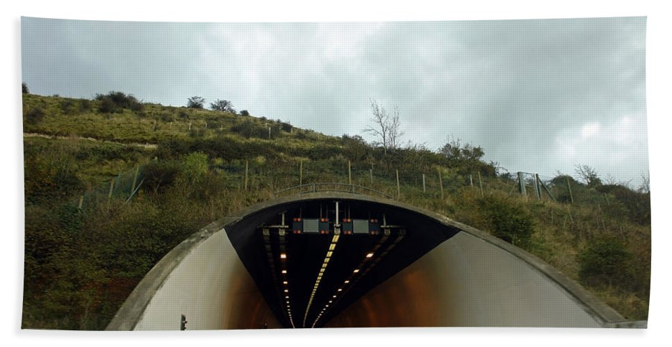 England Beach Towel featuring the photograph Approaching A Tunnel On A Highway In England by Ashish Agarwal