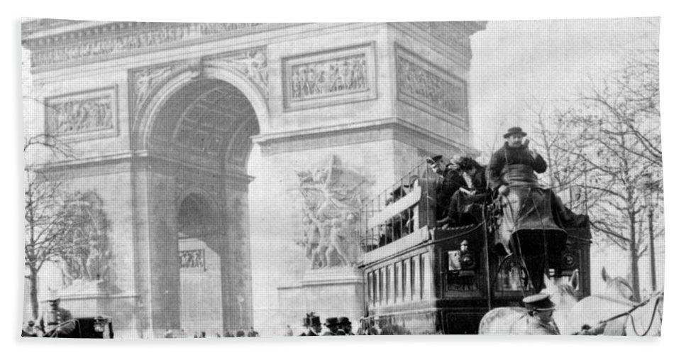 arc De Triomphe Beach Towel featuring the photograph Arc De Triomphe - Paris France - C 1898 by International Images