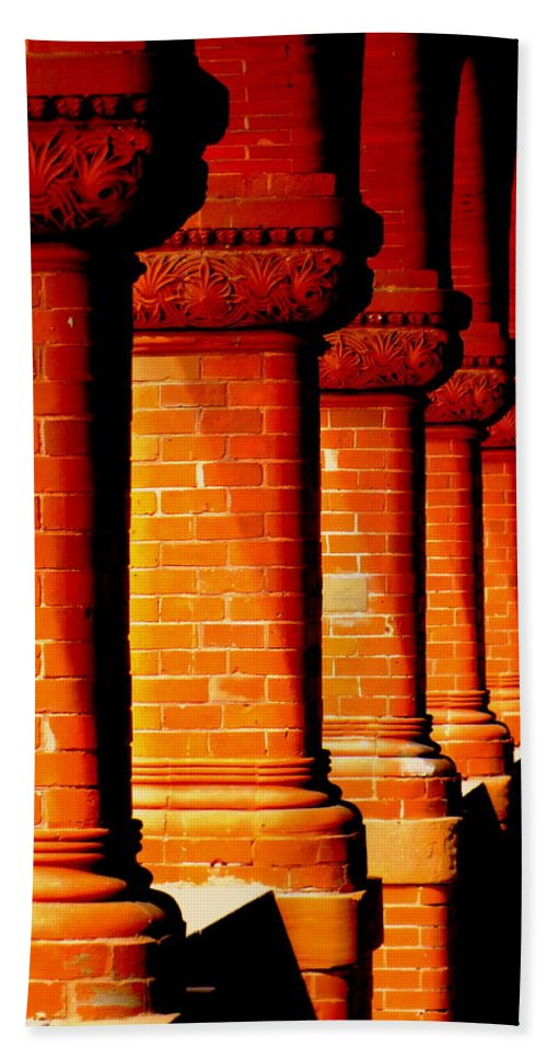 Architecture Beach Towel featuring the photograph Archaic Columns by Karen Wiles