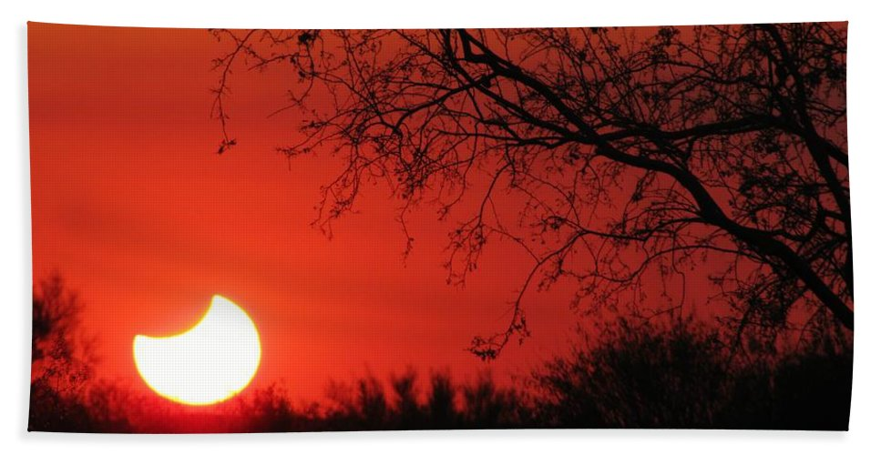 Eclipse Sunset Beach Towel featuring the photograph Arizona Eclipse At Sunset by Michelle Cassella
