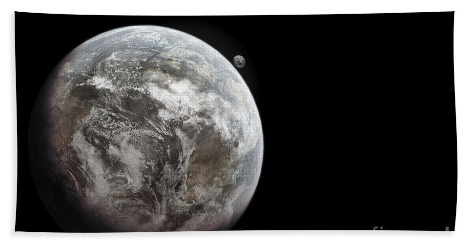 Outer Space Beach Towel featuring the digital art Artists Concept Of Earth As A Lifeless by Tomasz Dabrowski